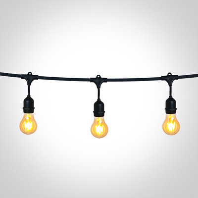 BLACK STRING LIGHTS IP44 8,5m 15x E27 60w