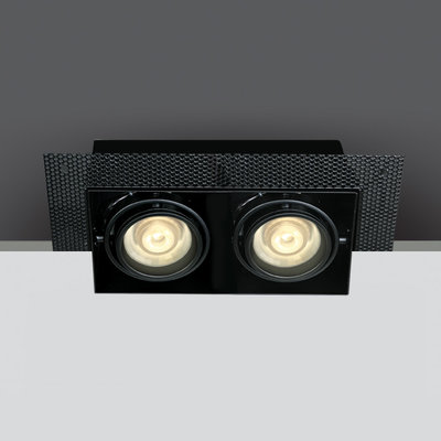 BLACK 2xGU10 TRIMLESS BOX