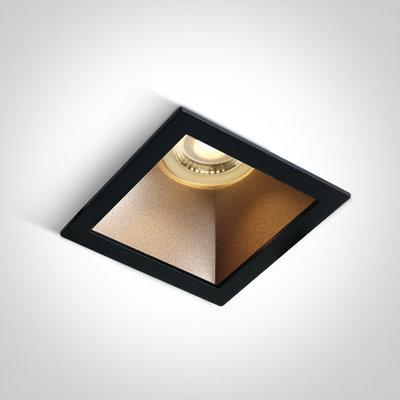 Inbouwspot vierkant - GU10 - Zwart/brons