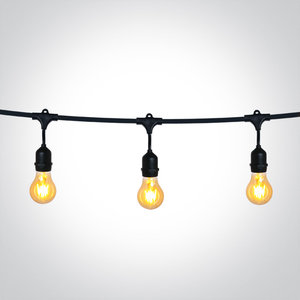BLACK STRING LIGHTS IP44 8,5m 15x E27 60w