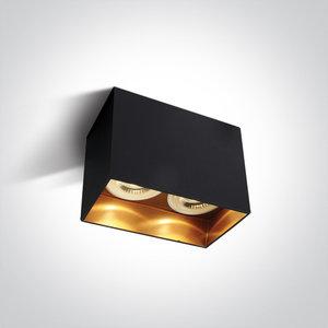 Plafond spot opbouw - Dubbel - GU10 - Zwart/goud