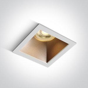 Inbouwspot vierkant - GU10 - Wit/brons